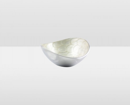White 17cm Swirl Oval Bowl