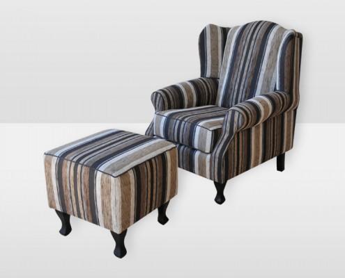 Ottoman Wing Chair - Profile Barney Mink Fabric